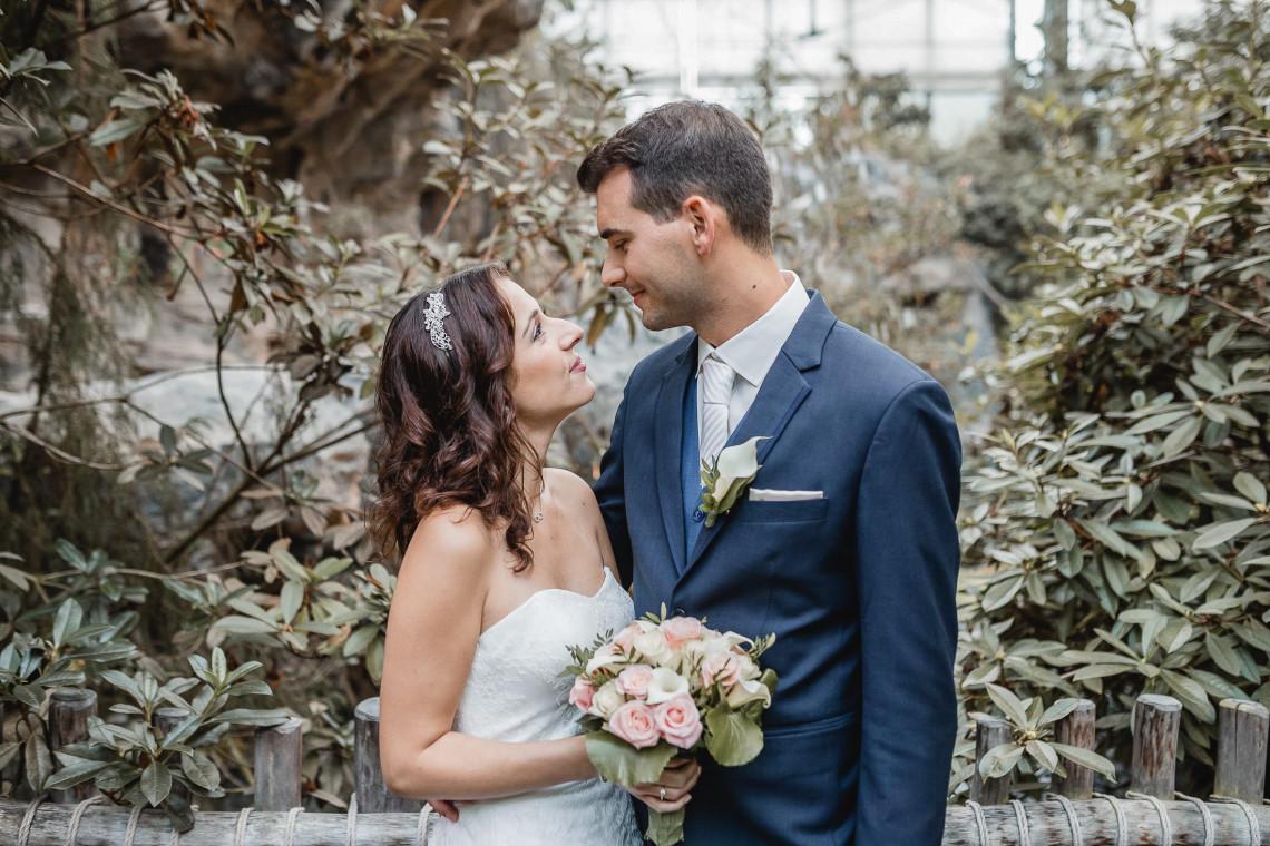 Hochzeitsfotograf Bremen - Brautpaar in der Botanika Bremen
